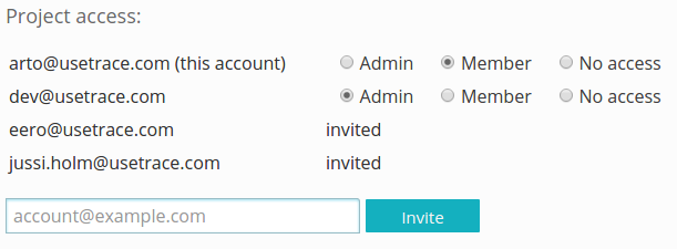 Invite team members to test project.